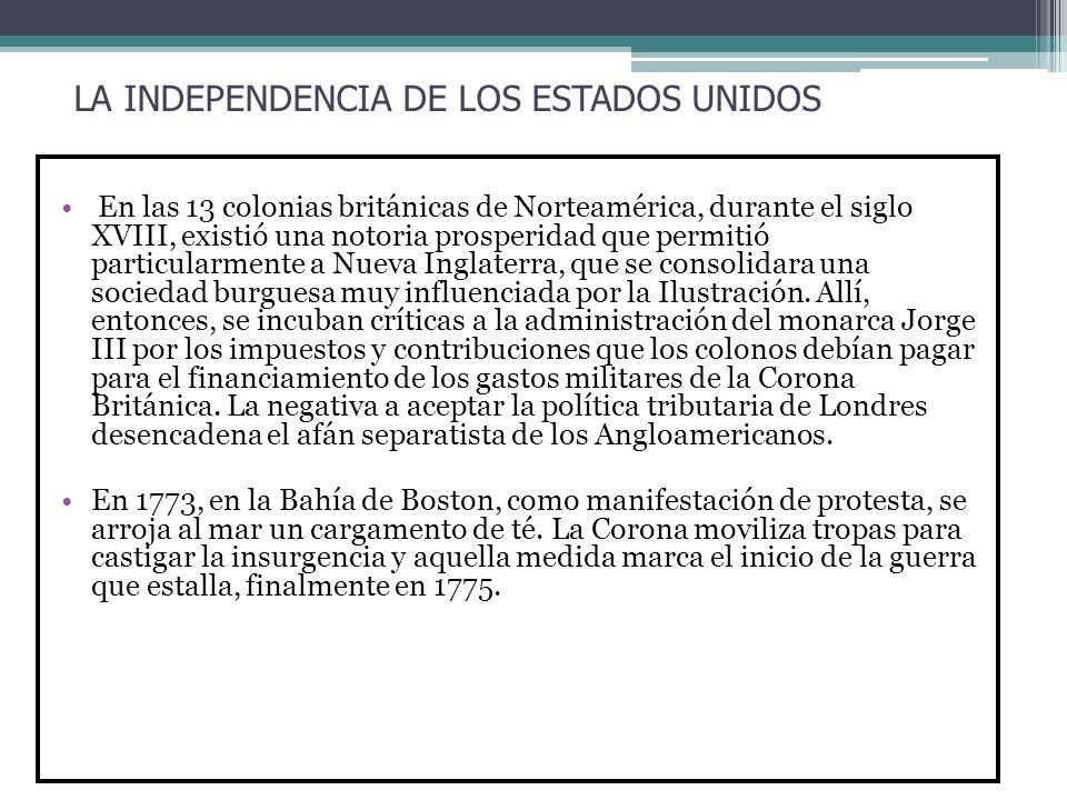 LA INDEPENDENCIA DE LOS ESTADOS UNIDOS En las 13 colonias británicas de Norteamérica, durante el siglo XVIII, existió una notoria prosperidad que perm