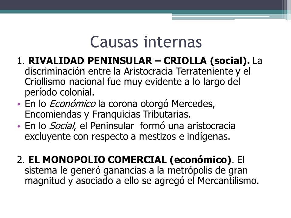 Causas internas 1. RIVALIDAD PENINSULAR – CRIOLLA (social). La discriminación entre la Aristocracia Terrateniente y el Criollismo nacional fue muy evi