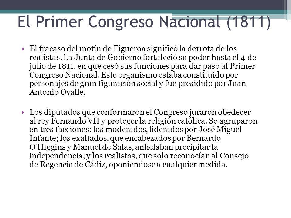 El Primer Congreso Nacional (1811) El fracaso del motín de Figueroa significó la derrota de los realistas. La Junta de Gobierno fortaleció su poder ha