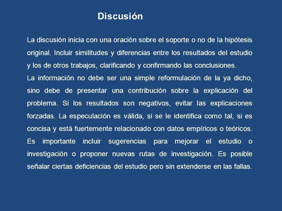 La discusión inicia con una oración sobre el soporte o no de la hipótesis original. Incluir similitudes y diferencias entre los resultados del estudio