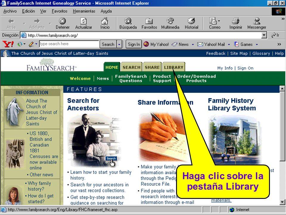 Haga clic sobre Family History Library Catalog