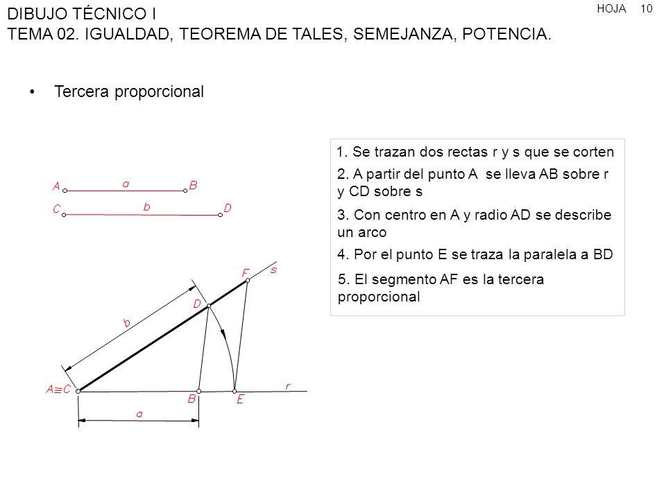 HOJA DIBUJO TÉCNICO I TEMA 02. IGUALDAD, TEOREMA DE TALES, SEMEJANZA, POTENCIA. 10 Tercera proporcional 1. Se trazan dos rectas r y s que se corten 2.