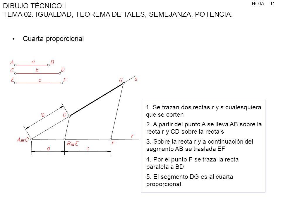 HOJA DIBUJO TÉCNICO I TEMA 02. IGUALDAD, TEOREMA DE TALES, SEMEJANZA, POTENCIA. 11 Cuarta proporcional 1. Se trazan dos rectas r y s cualesquiera que