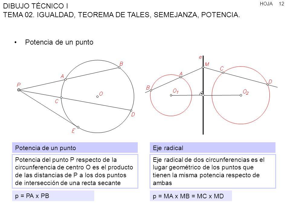 HOJA DIBUJO TÉCNICO I TEMA 02. IGUALDAD, TEOREMA DE TALES, SEMEJANZA, POTENCIA. 12 Potencia de un punto Potencia de un punto Potencia del punto P resp