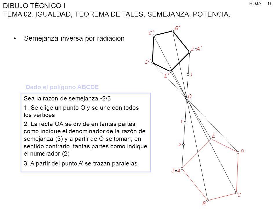 HOJA DIBUJO TÉCNICO I TEMA 02. IGUALDAD, TEOREMA DE TALES, SEMEJANZA, POTENCIA. 19 Semejanza inversa por radiación Sea la razón de semejanza -2/3 1. S