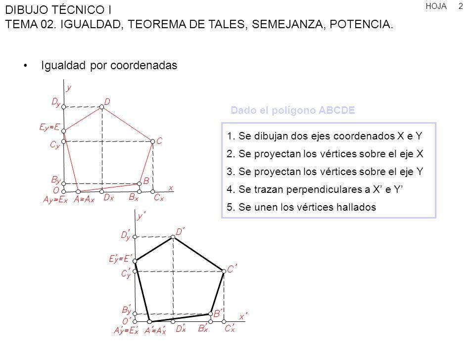 HOJA DIBUJO TÉCNICO I TEMA 02. IGUALDAD, TEOREMA DE TALES, SEMEJANZA, POTENCIA. 2 1. Se dibujan dos ejes coordenados X e Y 2. Se proyectan los vértice