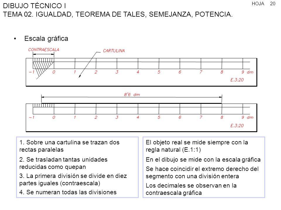 HOJA DIBUJO TÉCNICO I TEMA 02. IGUALDAD, TEOREMA DE TALES, SEMEJANZA, POTENCIA. 20 Escala gráfica 1. Sobre una cartulina se trazan dos rectas paralela