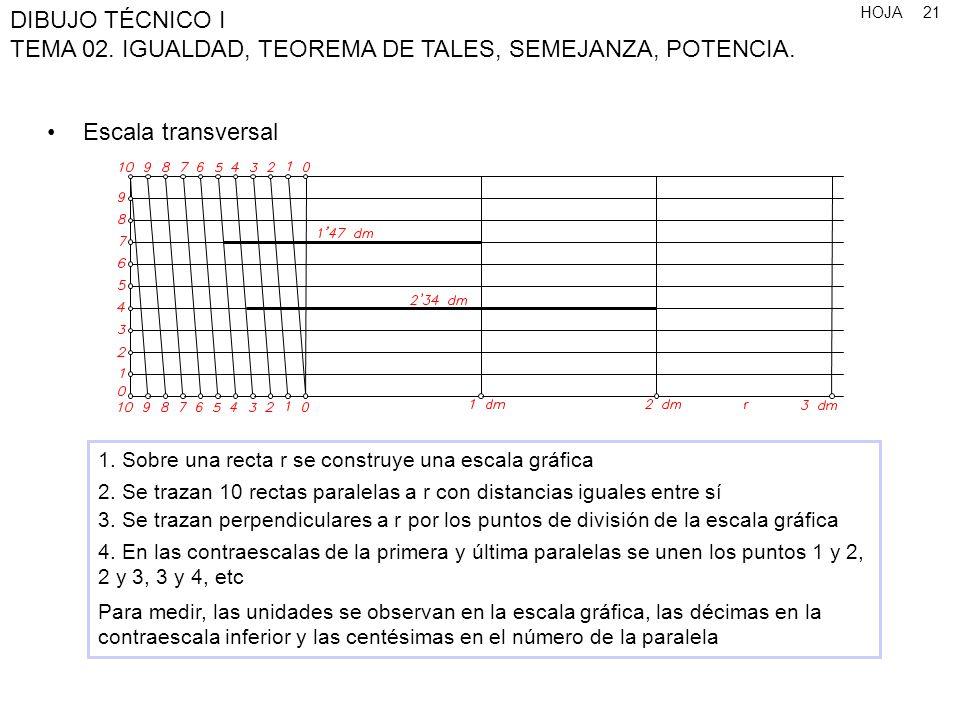 HOJA DIBUJO TÉCNICO I TEMA 02. IGUALDAD, TEOREMA DE TALES, SEMEJANZA, POTENCIA. 21 Escala transversal 1. Sobre una recta r se construye una escala grá