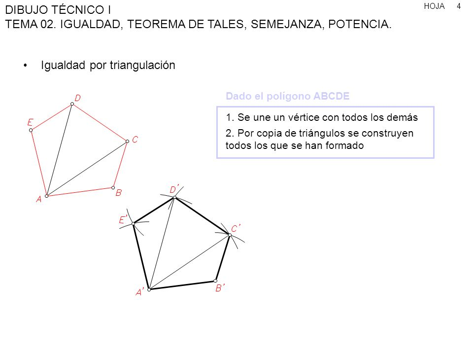 HOJA DIBUJO TÉCNICO I TEMA 02. IGUALDAD, TEOREMA DE TALES, SEMEJANZA, POTENCIA. 4 Igualdad por triangulación 1. Se une un vértice con todos los demás
