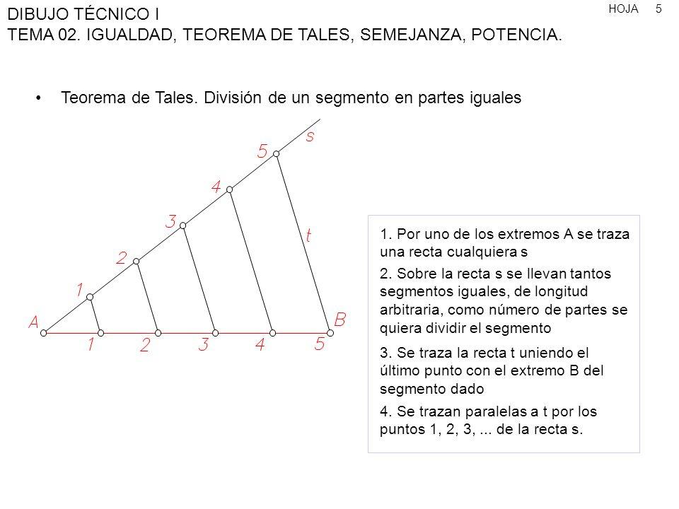 HOJA DIBUJO TÉCNICO I TEMA 02. IGUALDAD, TEOREMA DE TALES, SEMEJANZA, POTENCIA. 5 Teorema de Tales. División de un segmento en partes iguales 1. Por u