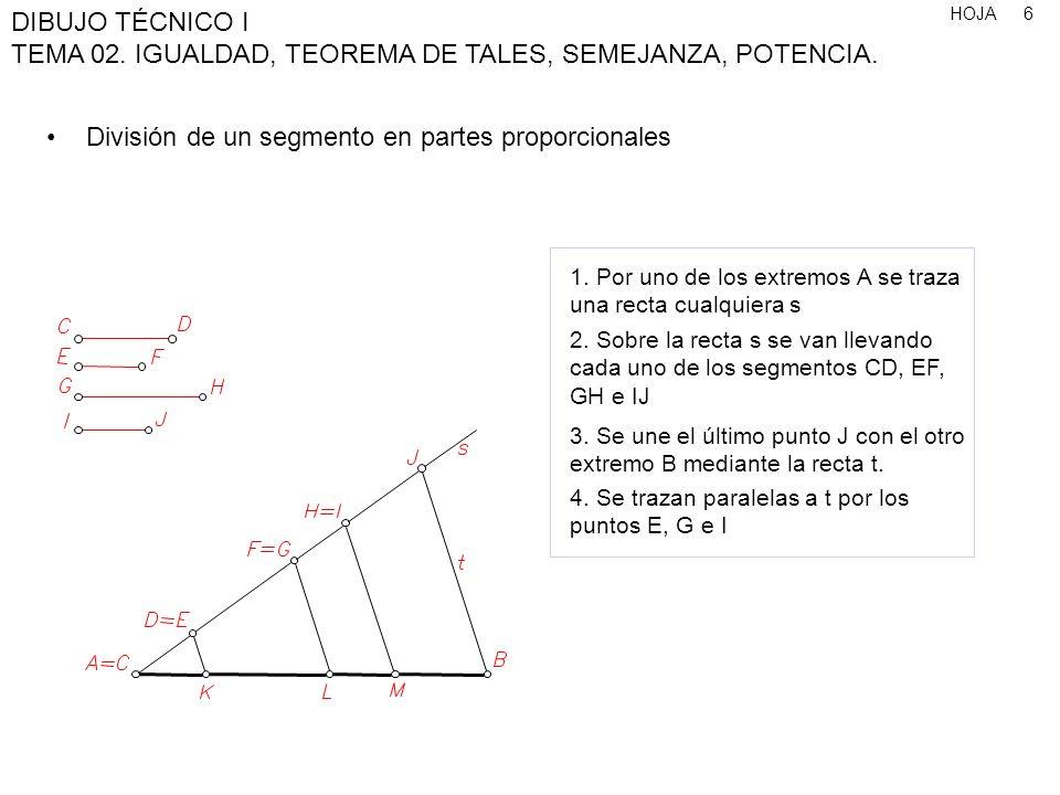 HOJA DIBUJO TÉCNICO I TEMA 02. IGUALDAD, TEOREMA DE TALES, SEMEJANZA, POTENCIA. 6 División de un segmento en partes proporcionales 1. Por uno de los e