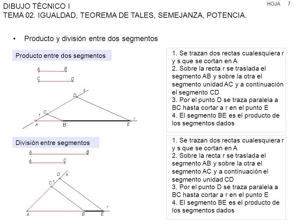 HOJA DIBUJO TÉCNICO I TEMA 02. IGUALDAD, TEOREMA DE TALES, SEMEJANZA, POTENCIA. 7 1. Se trazan dos rectas cualesquiera r y s que se cortan en A 2. Sob