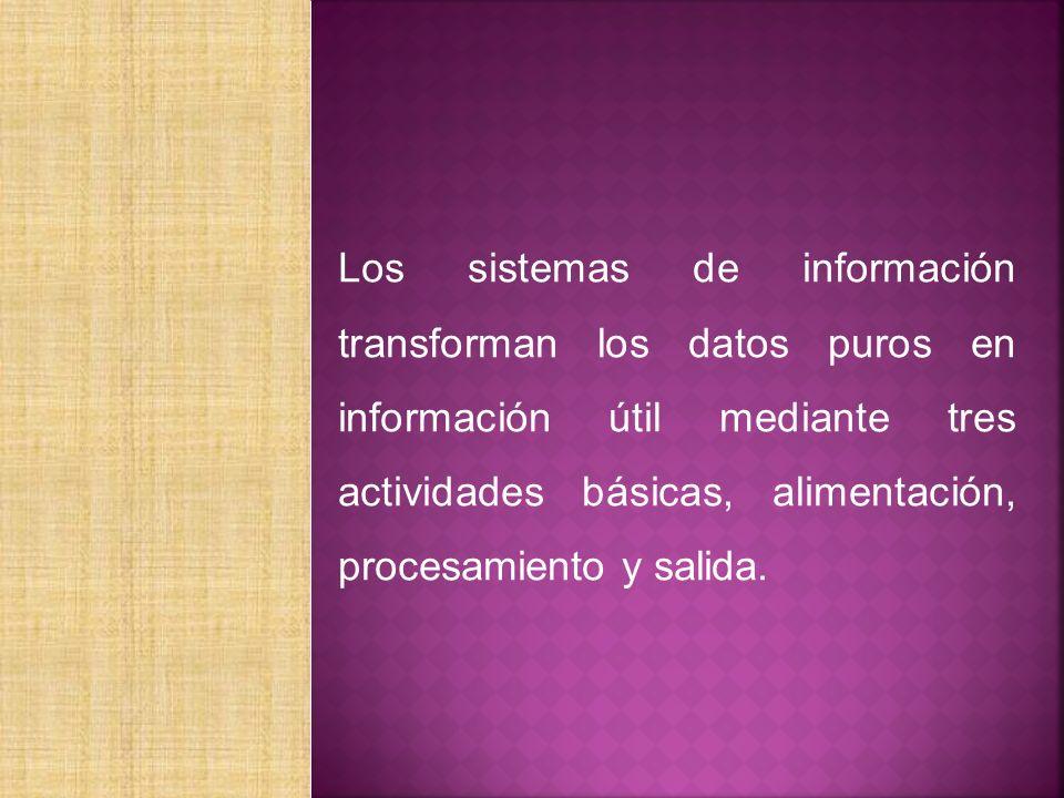 Los sistemas de información transforman los datos puros en información útil mediante tres actividades básicas, alimentación, procesamiento y salida.