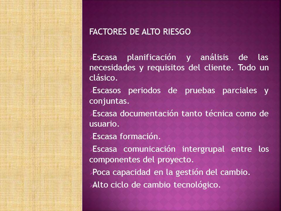 FACTORES DE ALTO RIESGO Escasa planificación y análisis de las necesidades y requisitos del cliente.