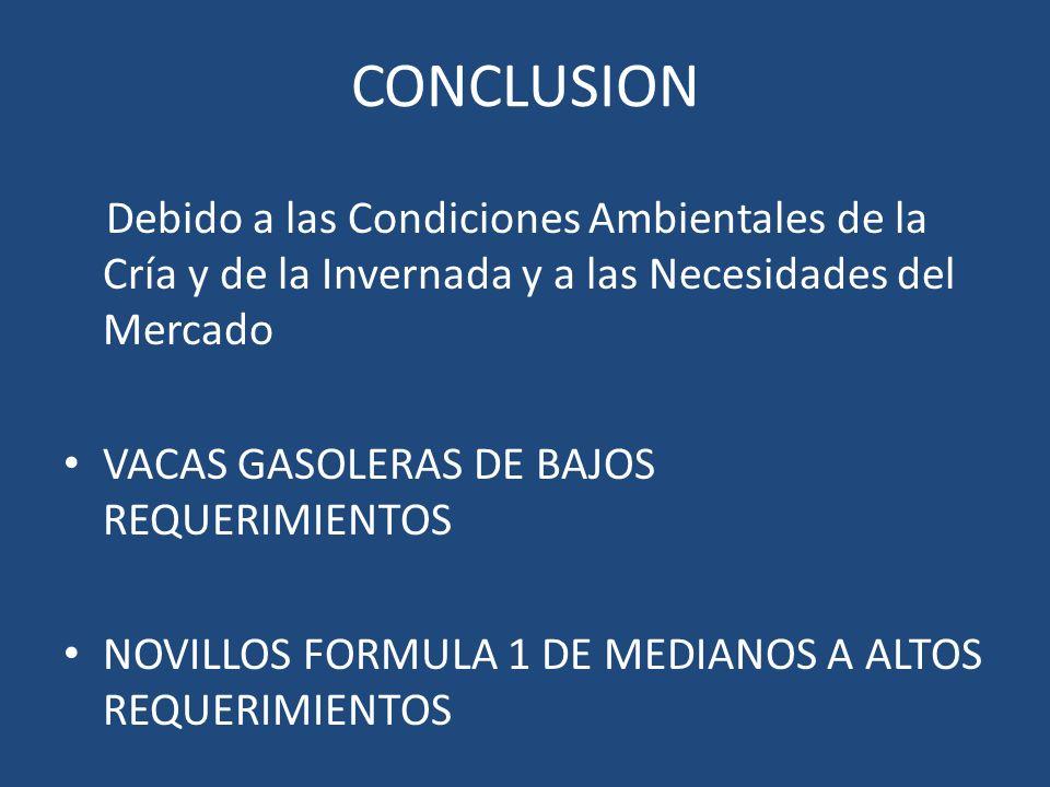 CONCLUSION Debido a las Condiciones Ambientales de la Cría y de la Invernada y a las Necesidades del Mercado VACAS GASOLERAS DE BAJOS REQUERIMIENTOS N