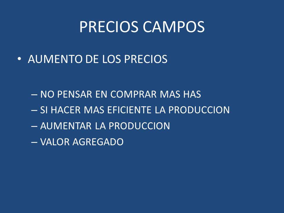 PRECIOS CAMPOS AUMENTO DE LOS PRECIOS – NO PENSAR EN COMPRAR MAS HAS – SI HACER MAS EFICIENTE LA PRODUCCION – AUMENTAR LA PRODUCCION – VALOR AGREGADO