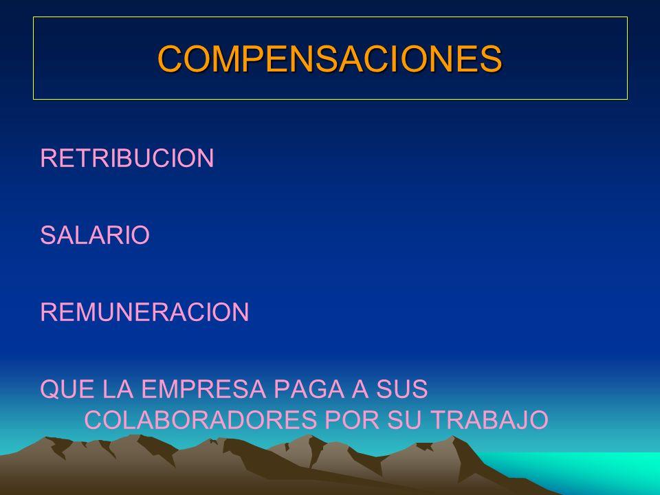 COMPENSACIONES RETRIBUCION SALARIO REMUNERACION QUE LA EMPRESA PAGA A SUS COLABORADORES POR SU TRABAJO