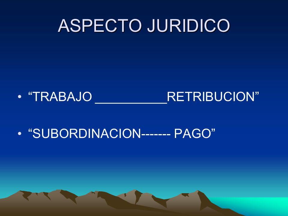 ASPECTO JURIDICO TRABAJO __________RETRIBUCION SUBORDINACION------- PAGO