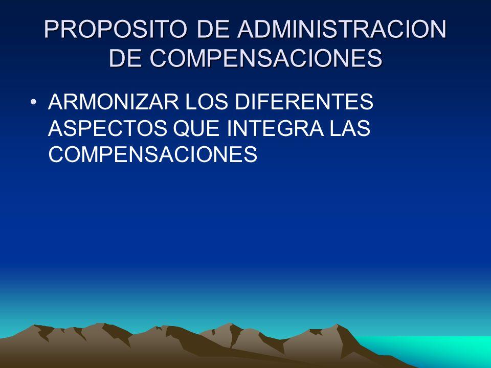 PROPOSITO DE ADMINISTRACION DE COMPENSACIONES ARMONIZAR LOS DIFERENTES ASPECTOS QUE INTEGRA LAS COMPENSACIONES