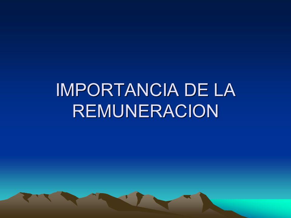 IMPORTANCIA DE LA REMUNERACION