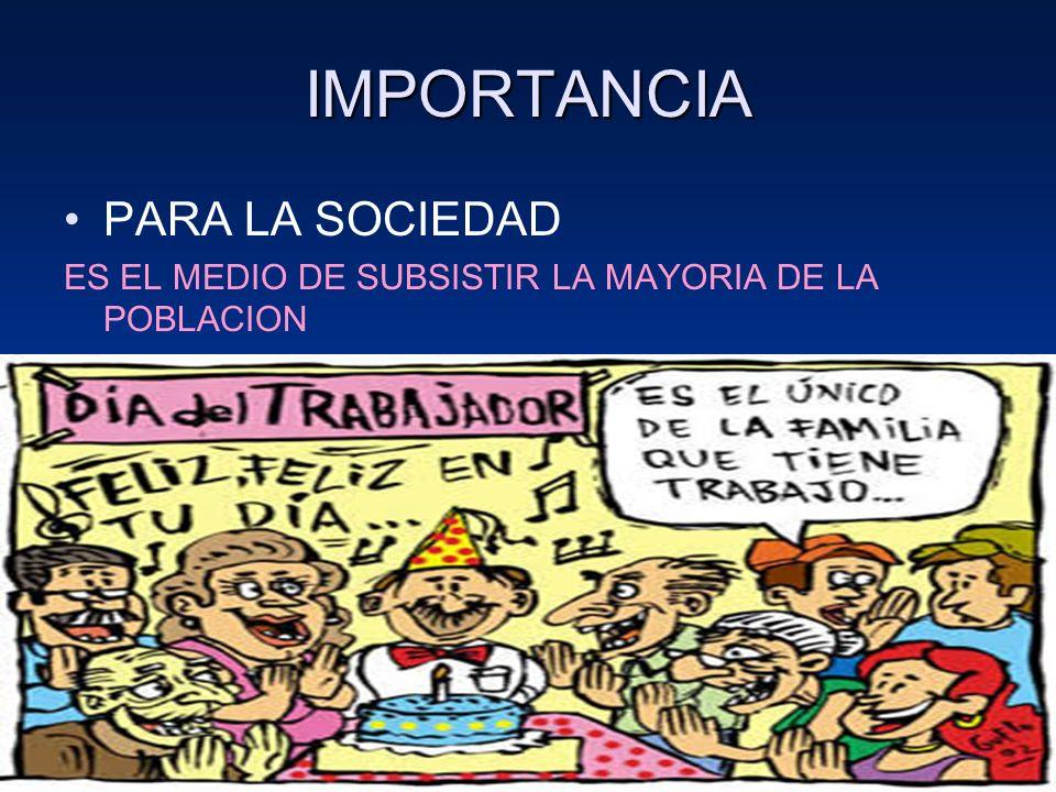 IMPORTANCIA PARA LA SOCIEDAD ES EL MEDIO DE SUBSISTIR LA MAYORIA DE LA POBLACION D