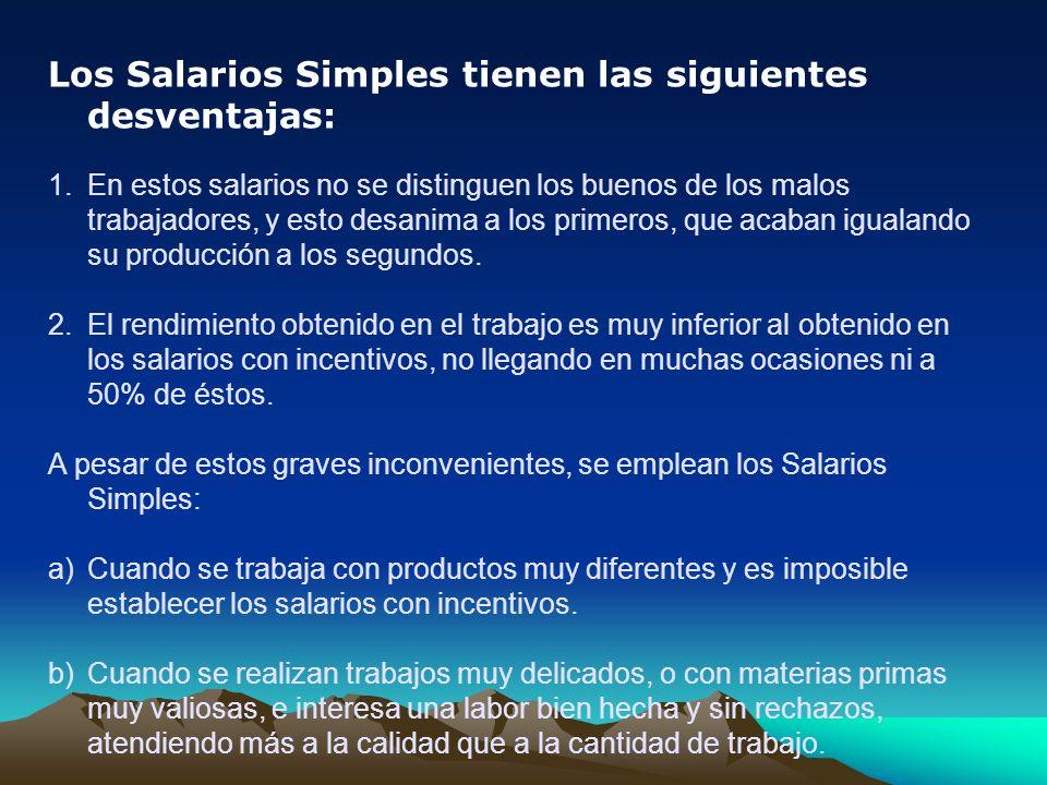 Los Salarios Simples tienen las siguientes desventajas: 1.En estos salarios no se distinguen los buenos de los malos trabajadores, y esto desanima a l
