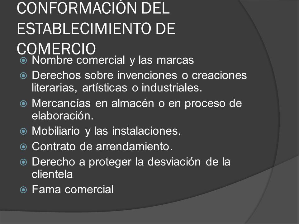 CONFORMACIÓN DEL ESTABLECIMIENTO DE COMERCIO Nombre comercial y las marcas Derechos sobre invenciones o creaciones literarias, artísticas o industrial