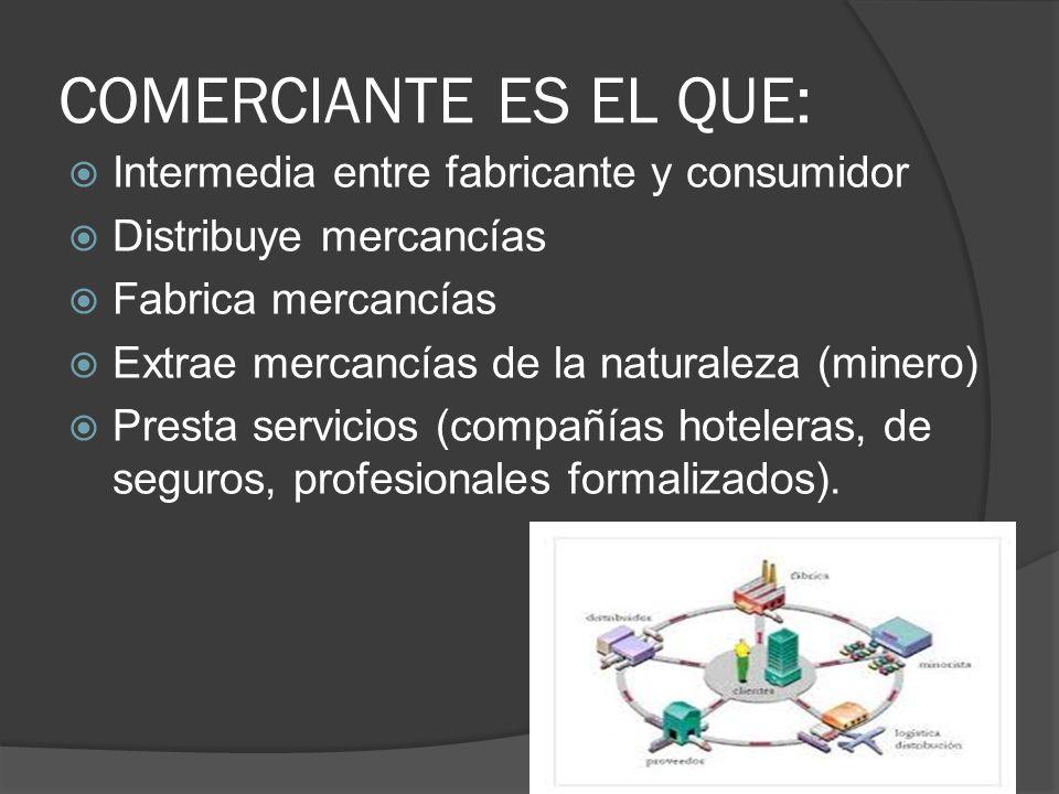 COMERCIANTE ES EL QUE: Intermedia entre fabricante y consumidor Distribuye mercancías Fabrica mercancías Extrae mercancías de la naturaleza (minero) P