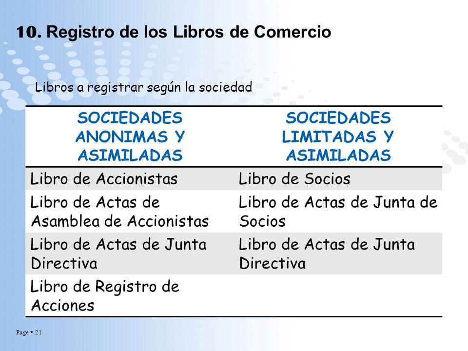 Page 21 10. Registro de los Libros de Comercio Libros a registrar según la sociedad SOCIEDADES ANONIMAS Y ASIMILADAS SOCIEDADES LIMITADAS Y ASIMILADAS