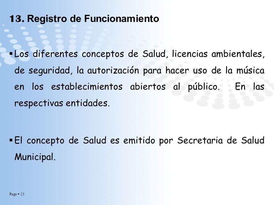 Page 25 13. Registro de Funcionamiento Los diferentes conceptos de Salud, licencias ambientales, de seguridad, la autorización para hacer uso de la mú