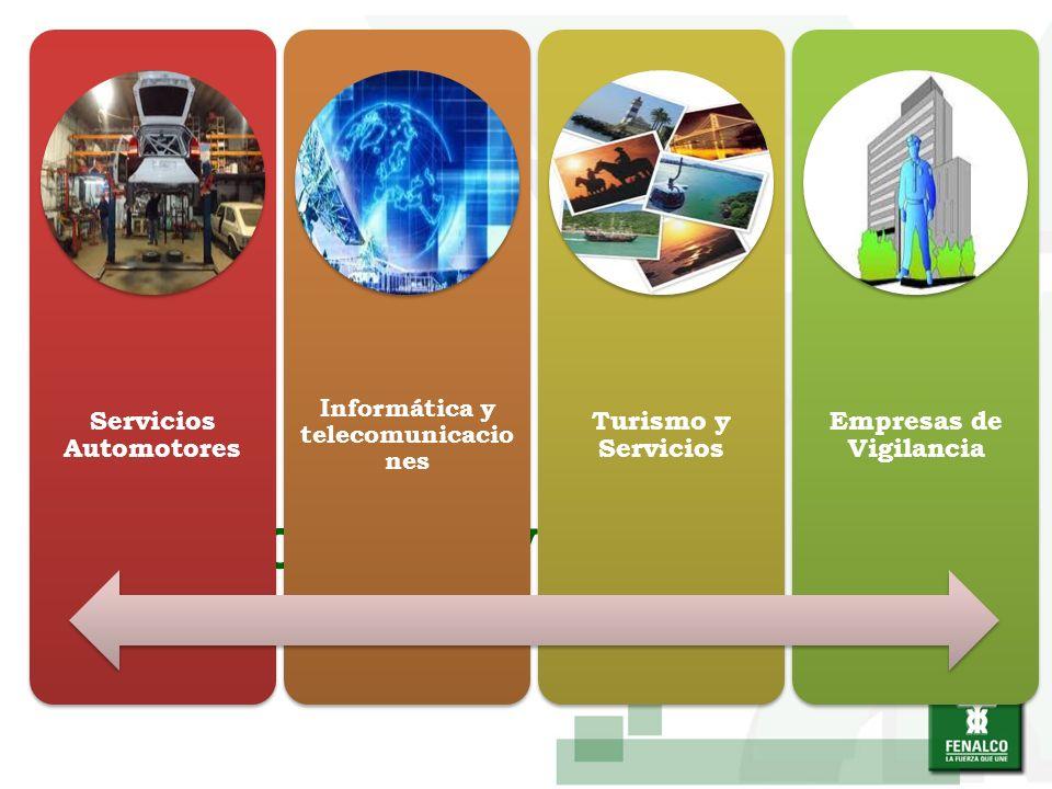 SECTOR SERVICIOS Servicios Automotores Informática y telecomunicacio nes Turismo y Servicios Empresas de Vigilancia
