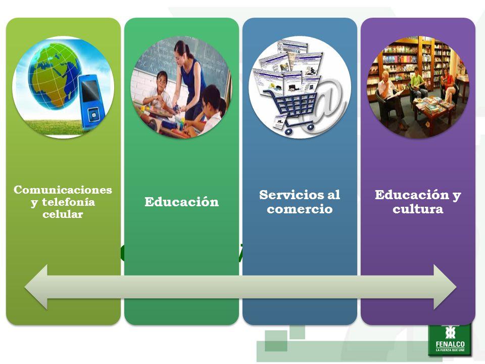 SECTOR SERVICIOS Comunicaciones y telefonía celular Educación Servicios al comercio Educación y cultura