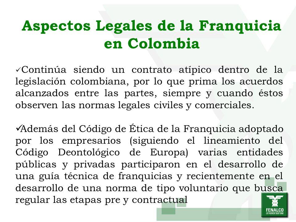 Aspectos Legales de la Franquicia en Colombia Continúa siendo un contrato atípico dentro de la legislación colombiana, por lo que prima los acuerdos a