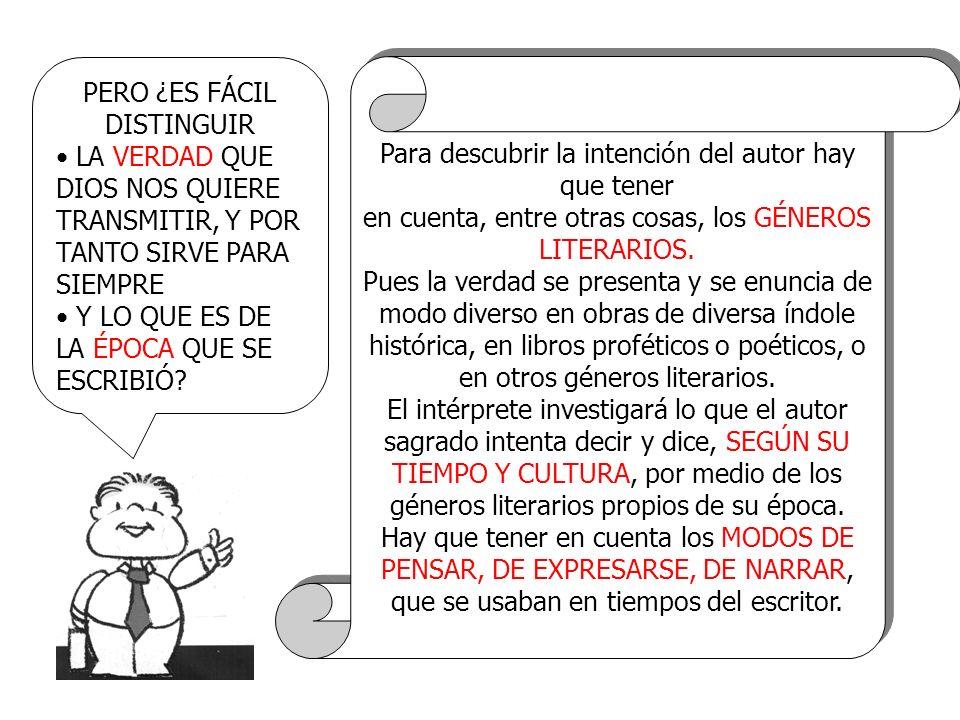 ENTONCES, SI NO TENEMOS EN CUENTA LOS GÉNEROS LITERARIOS, PODEMOS PENSAR QUE LA BIBLIA DICE LO QUE EN REALIDAD NO DICE EFECTIVAMENTE LA IGLESIA SIEMPRE HA INVESTIGADO EL SENTIDO DE LA ESCRITURA CON LA AYUDA DEL ESPÍRITU SANTO, LA IGLESIA SIEMPRE HA TENIDO LA VERDAD DE LA SALVACIÓN PERO HOY, CON LA AYUDA DE LA INVESTIGACIÓN MODERNA, PODEMOS COMPRENDER MEJOR EL SENTIDO DE LOS TEXTOS.