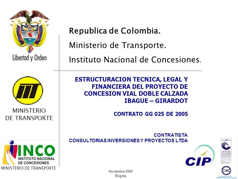 CONTRATISTA CONSULTORIAS INVERSIONES Y PROYECTOS LTDA ESTRUCTURACION TECNICA, LEGAL Y FINANCIERA DEL PROYECTO DE CONCESION VIAL DOBLE CALZADA IBAGUE –