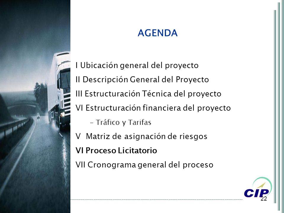 22 AGENDA I Ubicación general del proyecto II Descripción General del Proyecto III Estructuración Técnica del proyecto VI Estructuración financiera de