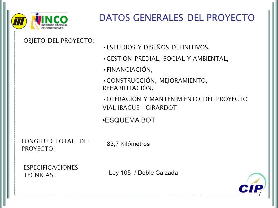 7 DATOS GENERALES DEL PROYECTO OBJETO DEL PROYECTO: ESTUDIOS Y DISEÑOS DEFINITIVOS. GESTION PREDIAL, SOCIAL Y AMBIENTAL, FINANCIACIÓN, CONSTRUCCIÓN, M