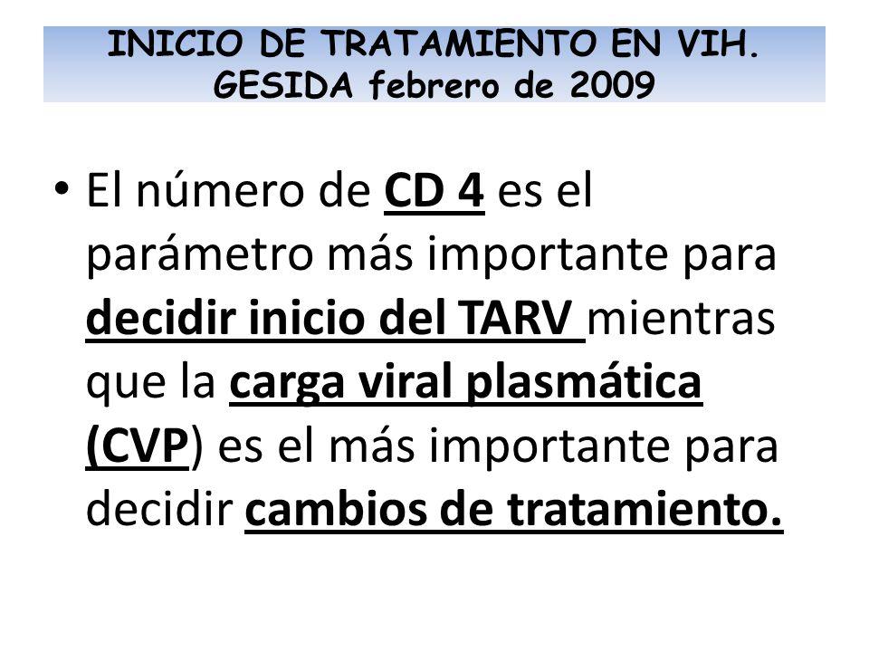 El número de CD 4 es el parámetro más importante para decidir inicio del TARV mientras que la carga viral plasmática (CVP) es el más importante para d