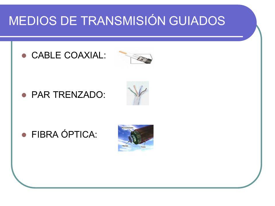 MEDIOS DE TRANSMISIÓN GUIADOS CABLE COAXIAL: PAR TRENZADO: FIBRA ÓPTICA:
