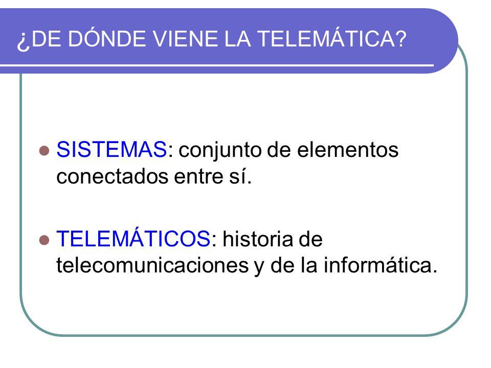 ¿ DE DÓNDE VIENE LA TELEMÁTICA? SISTEMAS: conjunto de elementos conectados entre sí. TELEMÁTICOS: historia de telecomunicaciones y de la informática.
