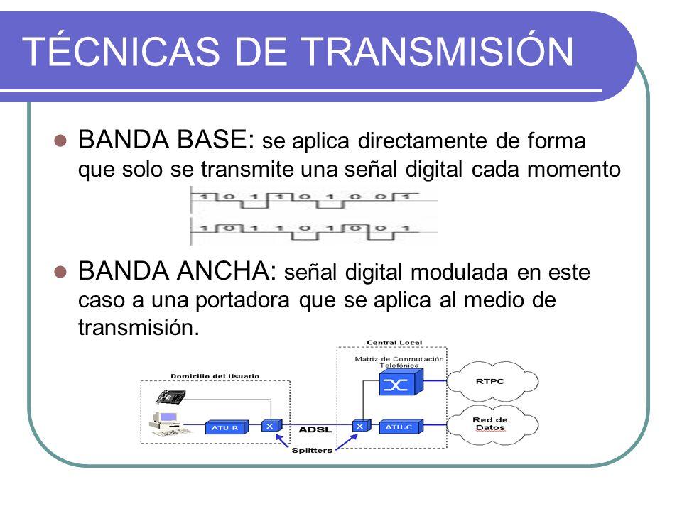 TÉCNICAS DE TRANSMISIÓN BANDA BASE: se aplica directamente de forma que solo se transmite una señal digital cada momento BANDA ANCHA: señal digital mo