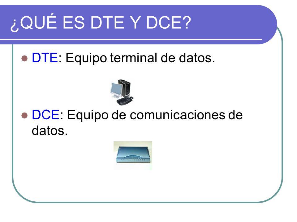 ¿QUÉ ES DTE Y DCE? DTE: Equipo terminal de datos. DCE: Equipo de comunicaciones de datos.