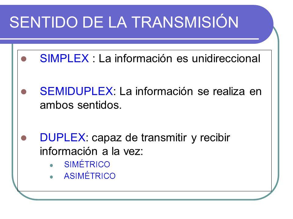 SENTIDO DE LA TRANSMISIÓN SIMPLEX : La información es unidireccional SEMIDUPLEX: La información se realiza en ambos sentidos. DUPLEX: capaz de transmi