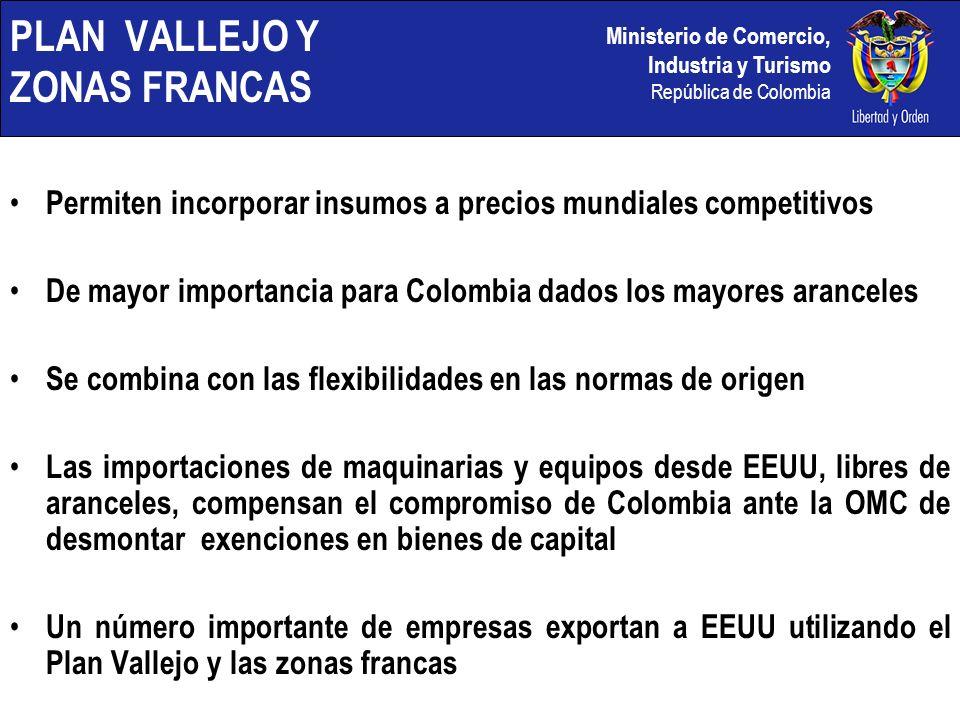 Ministerio de Comercio, Industria y Turismo República de Colombia PLAN VALLEJO Y ZONAS FRANCAS Permiten incorporar insumos a precios mundiales competi
