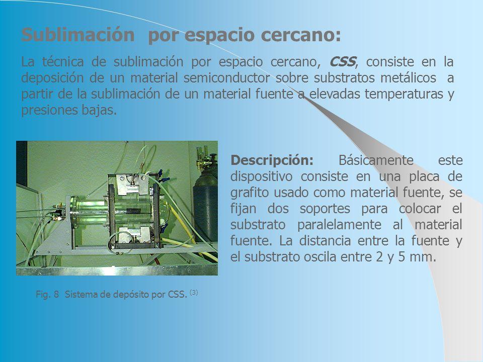Sublimación por espacio cercano: La técnica de sublimación por espacio cercano, CSS, consiste en la deposición de un material semiconductor sobre subs