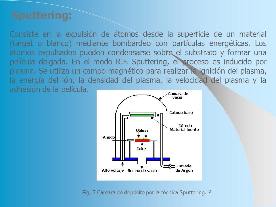 Consiste en la expulsión de átomos desde la superficie de un material (target o blanco) mediante bombardeo con partículas energéticas. Los átomos expu