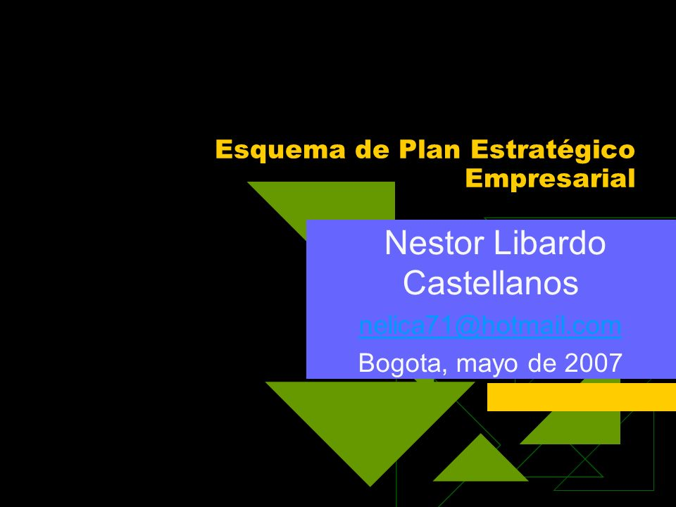 Esquema de Plan Estratégico Empresarial Nestor Libardo Castellanos nelica71@hotmail.com Bogota, mayo de 2007
