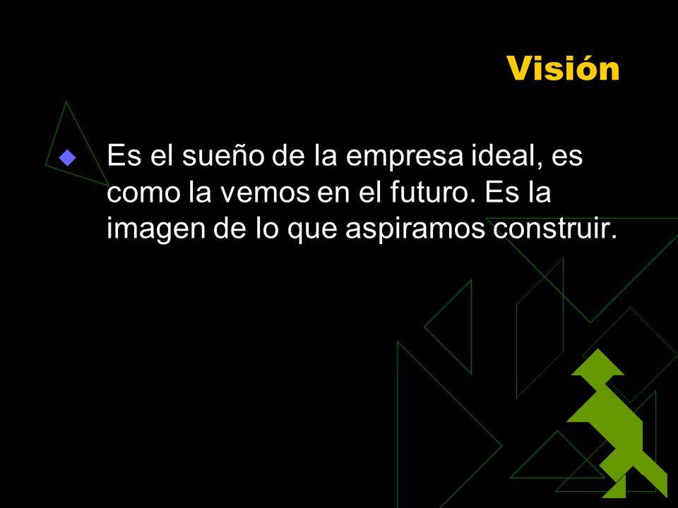 Visión Es el sueño de la empresa ideal, es como la vemos en el futuro. Es la imagen de lo que aspiramos construir.