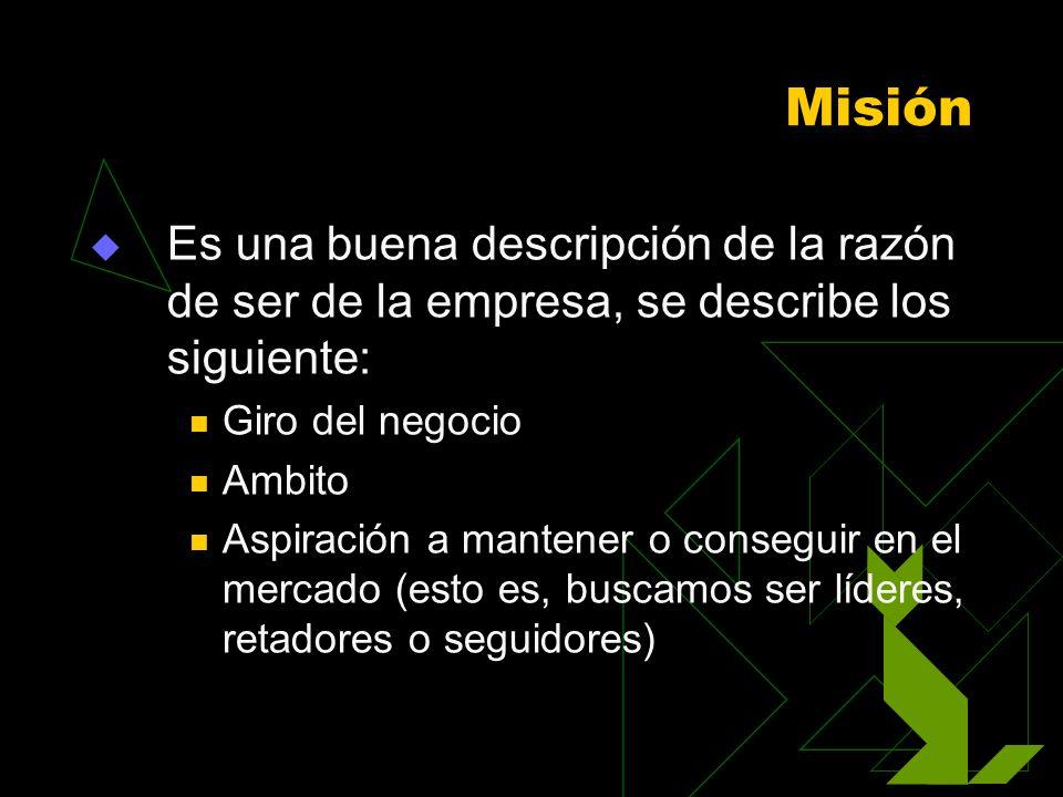 Misión Es una buena descripción de la razón de ser de la empresa, se describe los siguiente: Giro del negocio Ambito Aspiración a mantener o conseguir