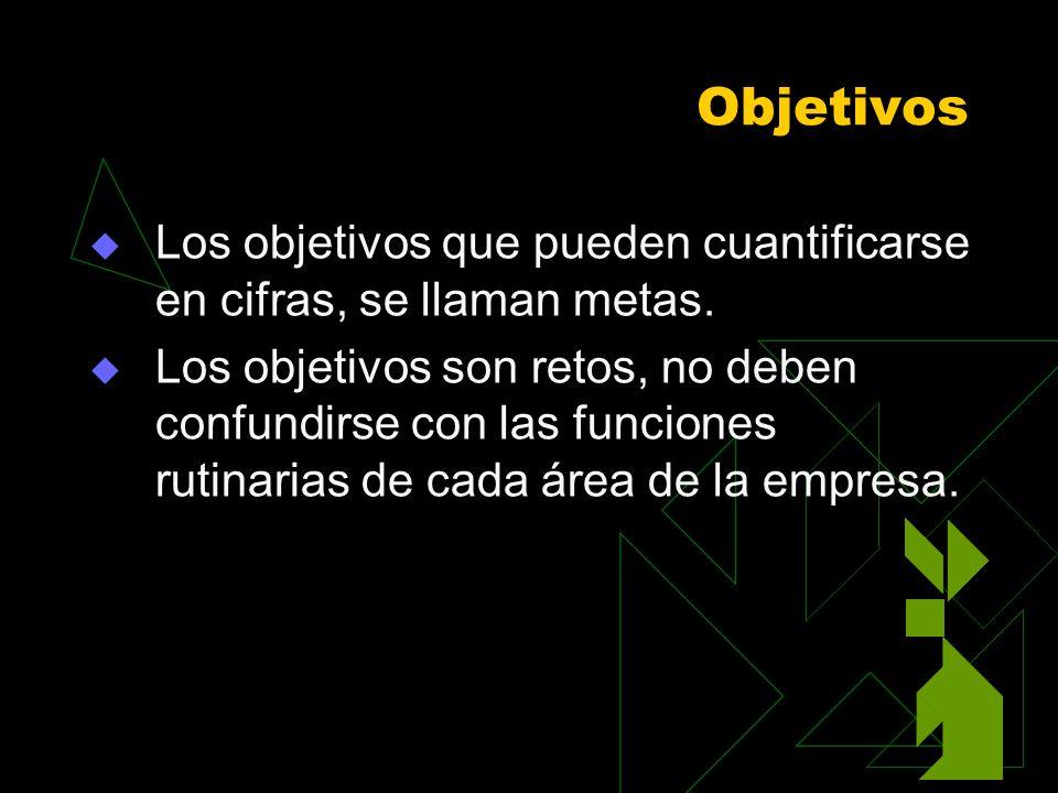 Objetivos Los objetivos que pueden cuantificarse en cifras, se llaman metas. Los objetivos son retos, no deben confundirse con las funciones rutinaria